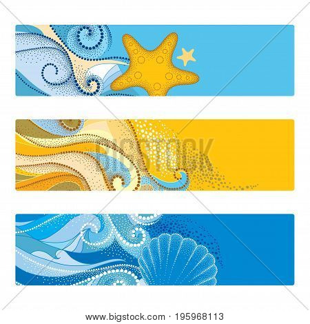 Vector summer set with horizontal banner in dotwork style. Abstract dotted waves, seashell, starfish, pebble, swirls isolated on white background. Aquatic theme with marine fauna for summer design.