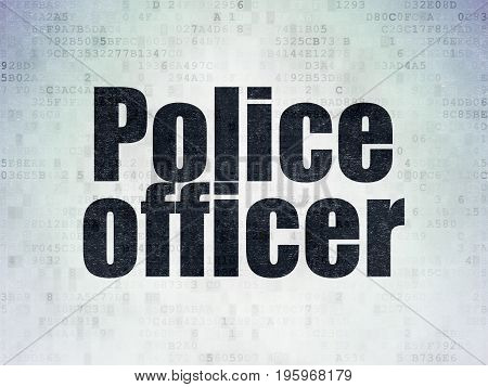 Law concept: Painted black word Police Officer on Digital Data Paper background