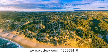 Aerial panorama of beautiful coastline at sunset. Mornington Peninsula Melbourne Australia