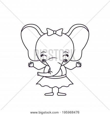 sketch silhouette caricature of cute expression and eyes closed of female elephant in skirt with bow lace vector illustration