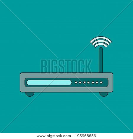 flat icon on stylish background Wi fi modem