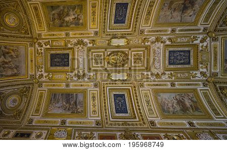 Castle Saint Angelo. Rome. Italy. June 2017. Interior. Overlooking the ceiling