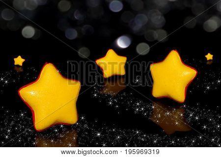 beautiful figurine yellow stars on a black background