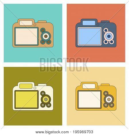 assembly of flat icon technology photo camera