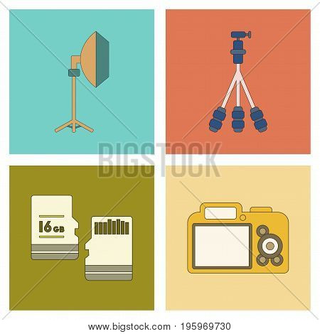 assembly of flat icon technology photo camera professional lighting tripod micro SD