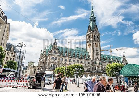 HAMBURG , GERMANY - JULY 14, 2017: Hamburg city with it's city hall is preparing for the next major event