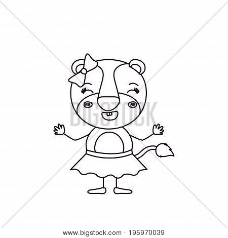 sketch silhouette caricature of female lioness in skirt with bow lace and smiling expression vector illustration