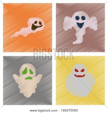 assembly flat shading style icons of Halloween ghost