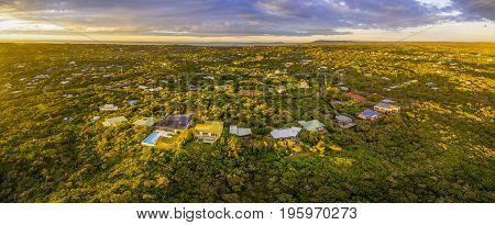Aerial panorama of Rye suburb at beautiful sunset. Mornington Peninsula Melbourne Australia
