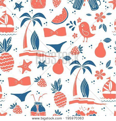 Vector Seamless pattern background with pineapple, swimsuit, bird, starfish, surfboard, palm tree. Perfect for greeting card or invitation, wallpapers, surface textures.