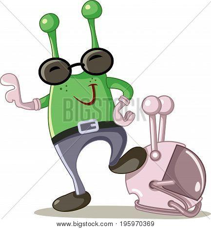 Cute Alien Cartoon Vector - Illustration of a funny green Martian