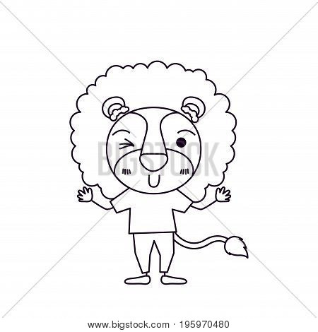sketch silhouette caricature of cute lion in clothes and wink eye expression vector illustration