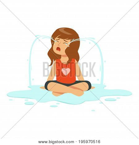 Weeping girl character sitting on the floor in a puddle of tears vector Illustration isolated on a white background