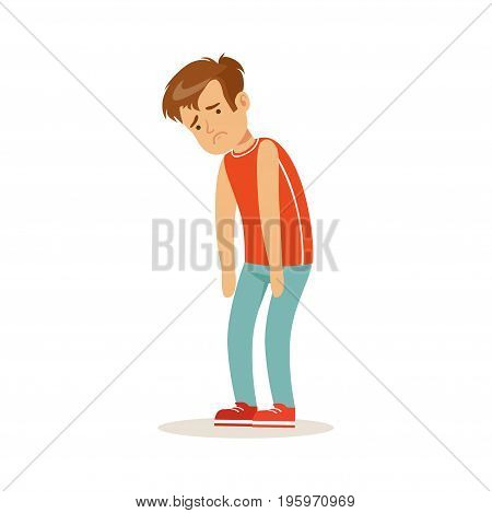 Frustrated sad boy character standing hunched vector Illustration isolated on a white background