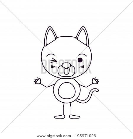 sketch silhouette caricature of cute cat wink eye expression vector illustration