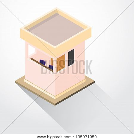 Flat 3d Isometric Security Lodge, guard room, isometric for graphic template - 3D vector illustration.