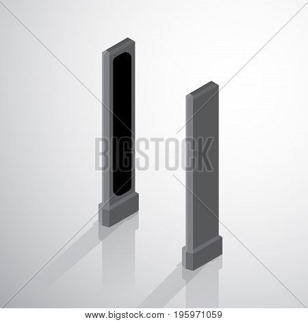 Flat 3d Isometric Walk through detector machine, isometric for graphic template - 3D vector illustration.