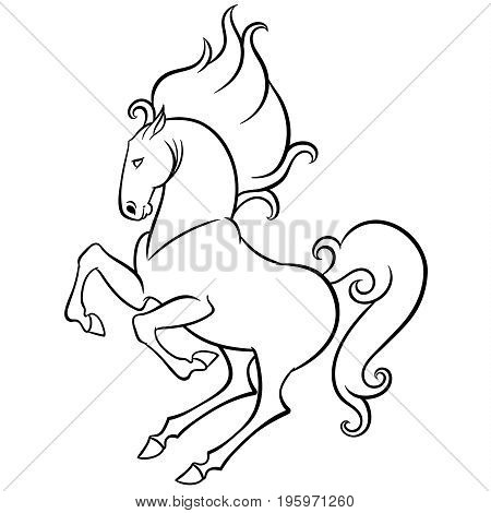 energetic horse reared - hand drawn doodle vector illustration