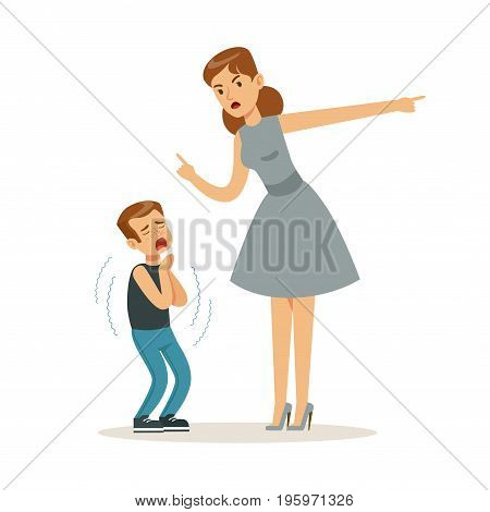 Mother character scolding her frightened son vector Illustration isolated on a white background