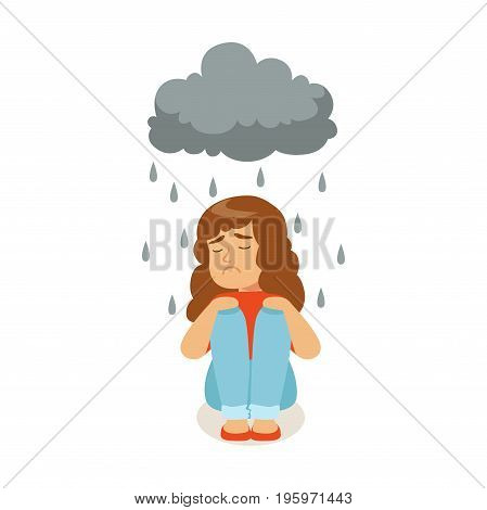 Sad girl character sitting under stormy rainy clouds vector Illustration isolated on a white background