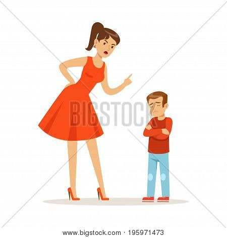 Mother character scolding her upset son vector Illustration isolated on a white background