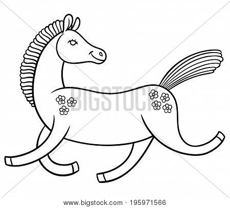 cute cartoon horse in a good mood rides jumps and smiles