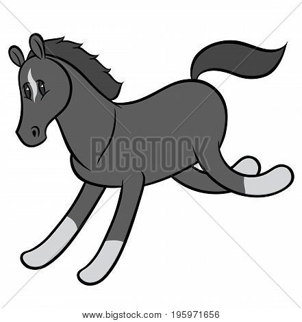 Vector illustration of a funny running horse