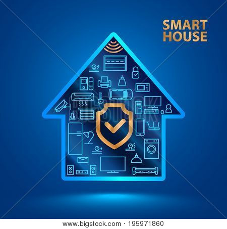 Symbol silhouette smart house with icons of household appliances. The shield icon. Protecting your home from hackers or robbers. The security of the Internet of things (iot).