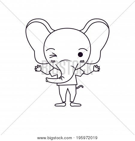 sketch silhouette caricature of cute elephant wink eye expression with t-shirt vector illustration