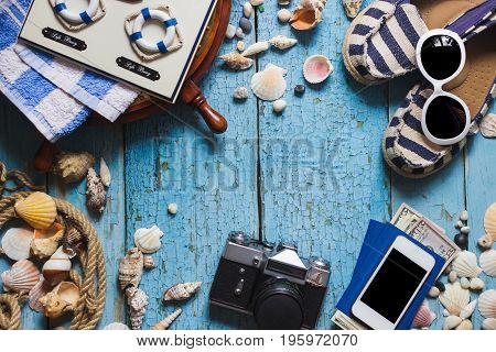 Striped Espadrilles, Camera And Maritime Decorations, Top View