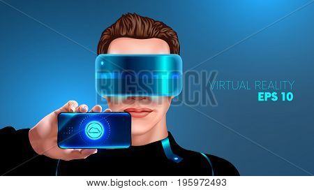 young man with glasses virtual reality shows the screen of the smart phone. Vr glasses. App for smart phone virtual reality. realistic VECTOR