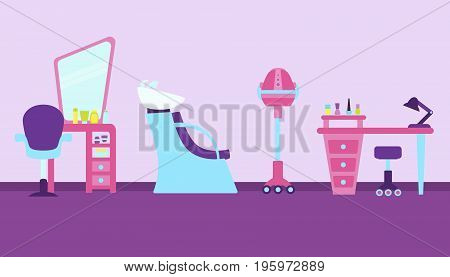 Interior beauty salon. Workplace of hairdresser, makeup artist, master of manicure. Vector illustration