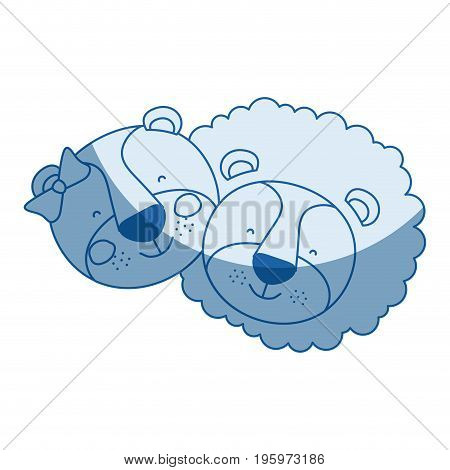 blue color shading silhouette caricature faces of couple lion and lioness happiness expression vector illustration