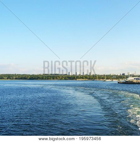 Trace from the ship. Gulf of Finland in Tallinn