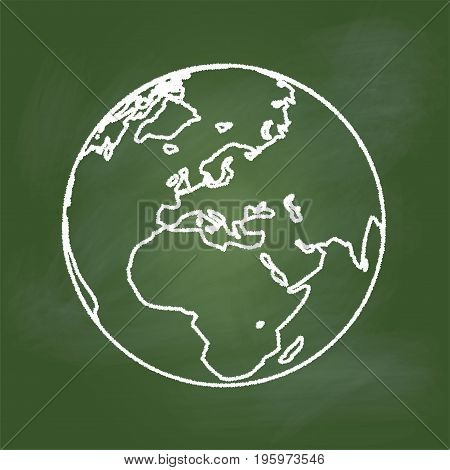 Hand drawing of the Earth on textured green board Europe, Asia and Africa regional, Education Concept, Vector Illustration