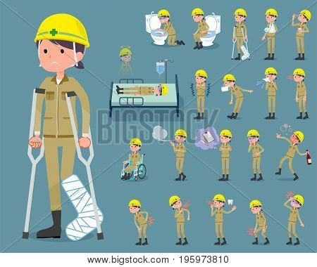 Flat Type Helmet Construction Worker Woman_sickness