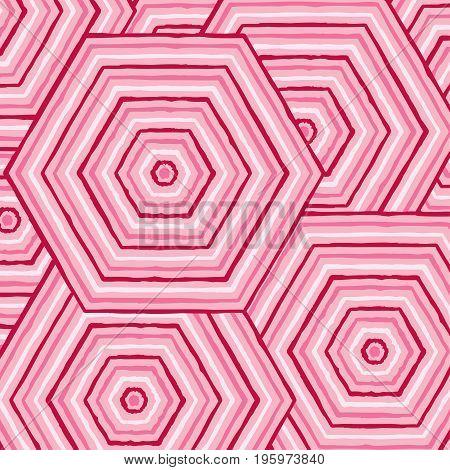 Hexagonal Abstract Aboriginal Line Painting In Vector Format.