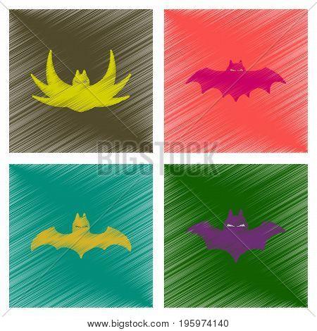 assembly flat shading style icons of halloween bat