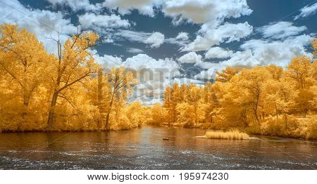 Apple River Panorama  In Infrared Color