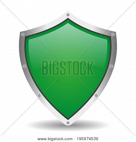 Realistic shield with shadow on a white background