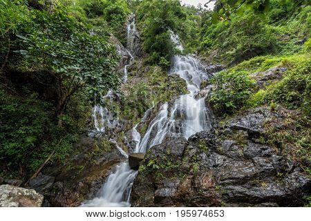 Krok-E-Dok waterfall and rain forest on mountain in Khao Yai National park Thailand.