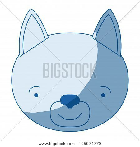 blue color shading silhouette caricature face of cat tranquility expression vector illustration