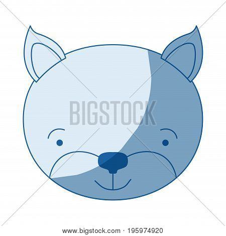 blue color shading silhouette caricature face of kitten tranquility expression vector illustration