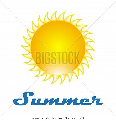 The design of the sun on a white background with text summer