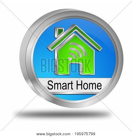 glossy blue green Smart Home Button - 3D illustration