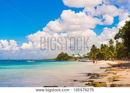Sand beach in Bayahibe La Altagracia Dominican Republic. Copy space for text