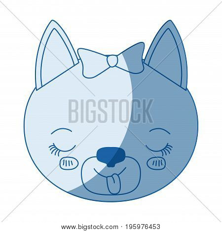 blue color shading silhouette caricature face of female cat animal sticking out tongue expression vector illustration