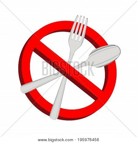 No food prohibition sign fork and spoon inside
