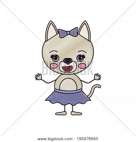 color crayon silhouette caricature of cute female cat in skirt with bow lace with happiness expression and smile vector illustration