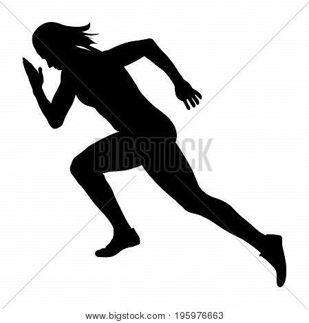 start sprint girl athlete runner black silhouette